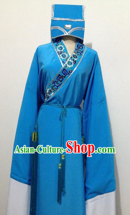 Ancient Chinese Blue Student Costumes and Hat for Men