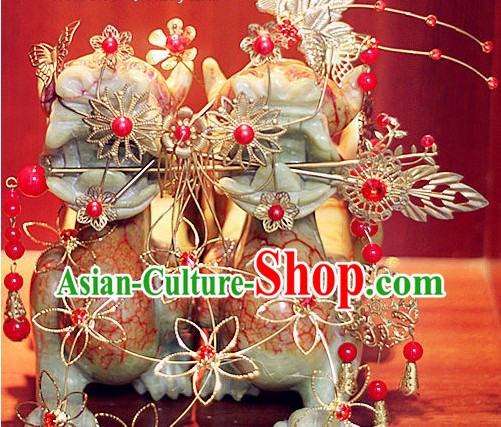 Romantic Chinese Golden Flower Hair Accessories