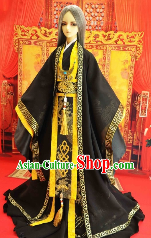 Ancient Chinese Black Hanfu Clothing for Men