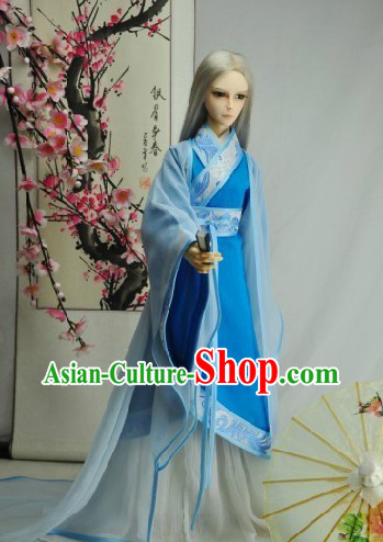 Ancient Chinese Blue Han Fu Guzhuang Clothing for Men