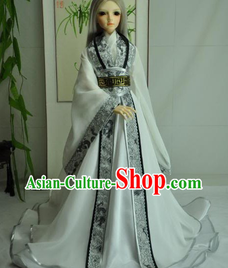 Ancient Chinese White Hanfu Clothing Complete Set for Men