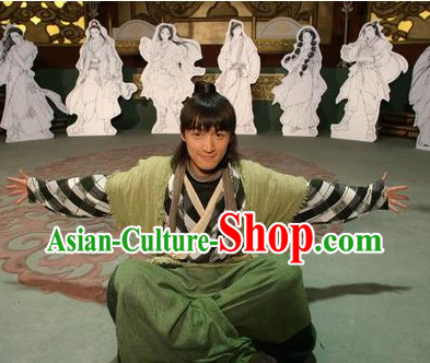 Ancient Chinese Green Swordsman Han Fu Costumes for Men