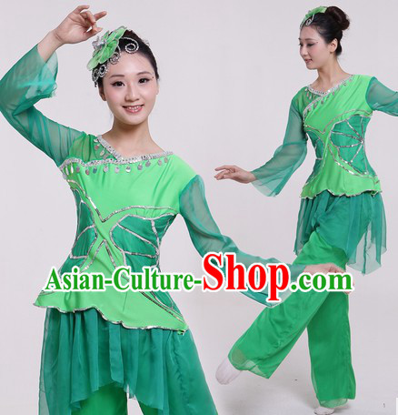 Traditional Chinese Green Fan Dancing Costumes and Headpiece for Women