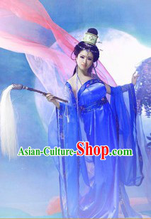 Blue Ancient Chinese Style Stage Performance Costumes for Women