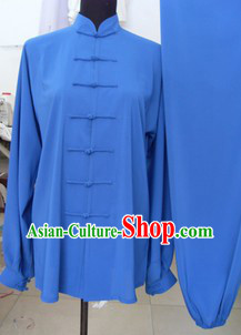 Traditional Chinese Blue Silk Kung Fu Dresses