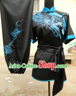 Traditional Chinese Long Fist Embroidered Phoenix Kung Fu Stage Performance Uniforms
