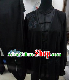 Traditional Chinese Black Long Sleeves Lotus Martial Arts Uniform and Veil