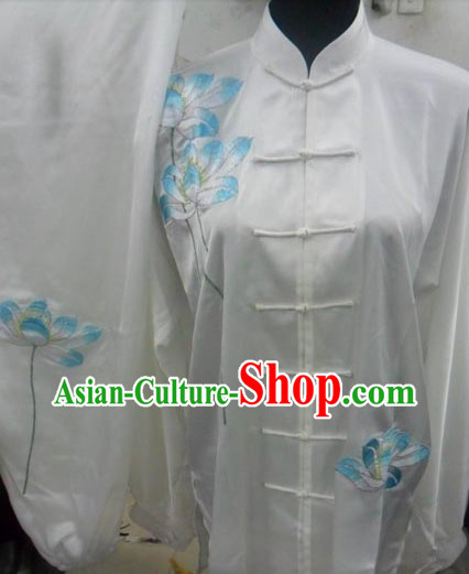 Traditional Chinese White Long Sleeves Lotus Kung Fu Uniform and Veil