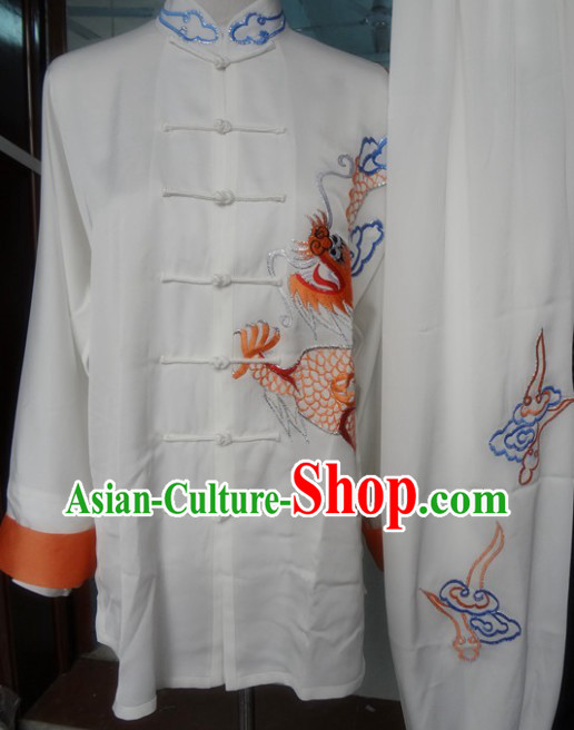 Traditional Chinese White Tai Chi Martial Arts Dragon Embroidery Clothing