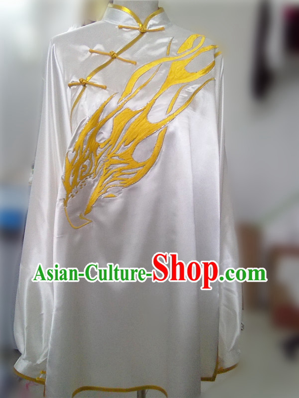 Traditional Chinese White Dragon Embroidery Martial Arts Contest Blouse and Pants