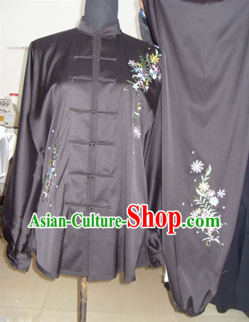 Traditional Chinese Black Long Sleeves Embroidered Flower Martial Arts Dresses