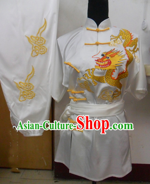 Traditional Chinese Short Sleeve Dragon Embroidery Competition and Performance Gong Fu Uniform
