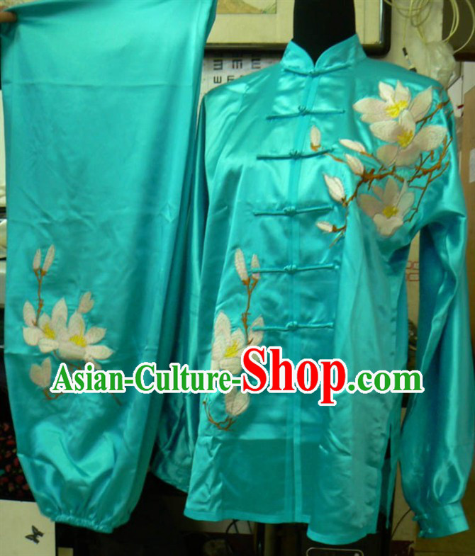 Bue Long Sleeves Lotus Embroidery Martial Arts and Tai Ji Clothing Complete Set for Men