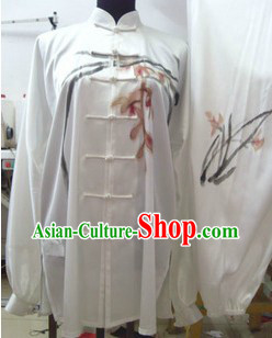 Traditional Chinese Hand Painted Orchid Tai Chi Outfit