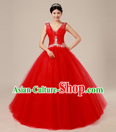 Traditional Chinese Classical Red Wedding Veil for Women