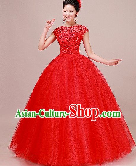 Traditional Chinese Classical Red Wedding Veil and Headpiece for Brides