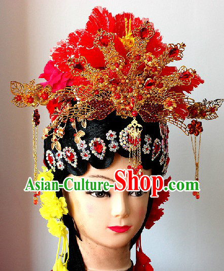 Traditional Chinese Phoenix Coronet Hair Accessories and Long Wig