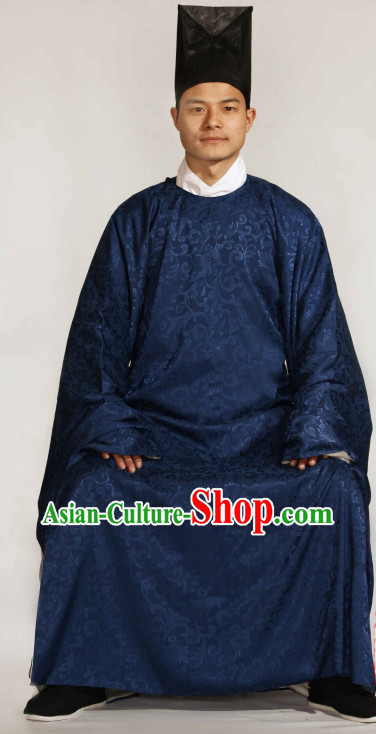 Ancient Chinese Ming Dynasty Clothing and Hat Complete Set for Men