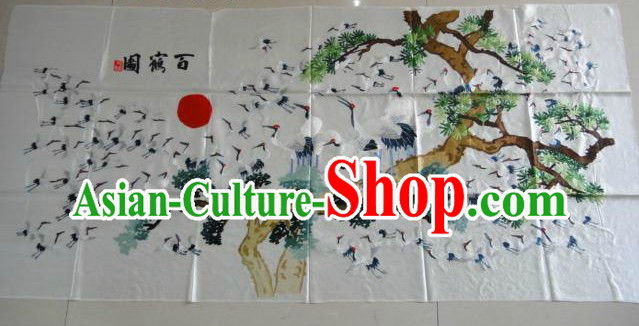 Traditional Chinese Hands Embroidered 100 Cranes Wall Hanging