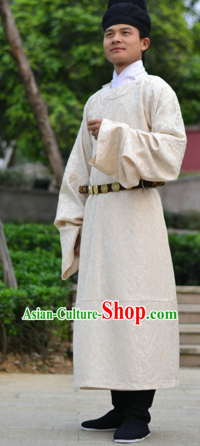 Ancient Chinese Tang Dynasty Clothing Robe Hat and Belt for Men