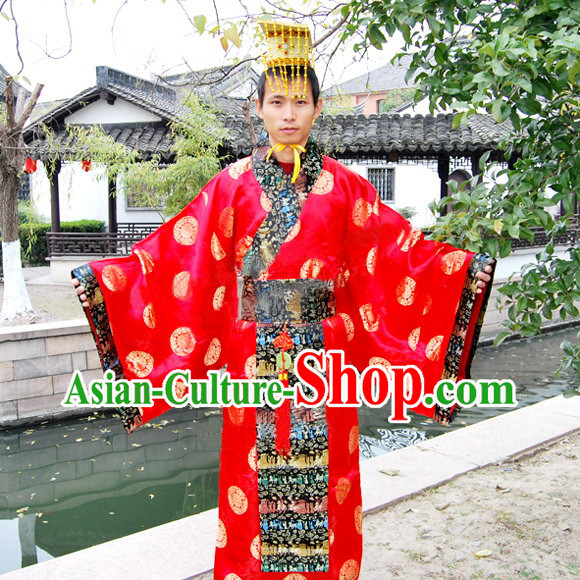 Qin Shi Huang First Emperor of Qin Costume and Hat for Men