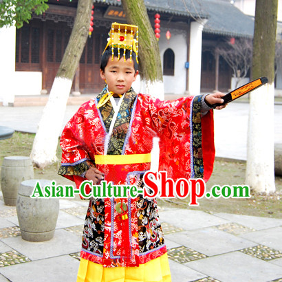 Qin Shi Huang First Emperor of Qin Costume and Hat for Children