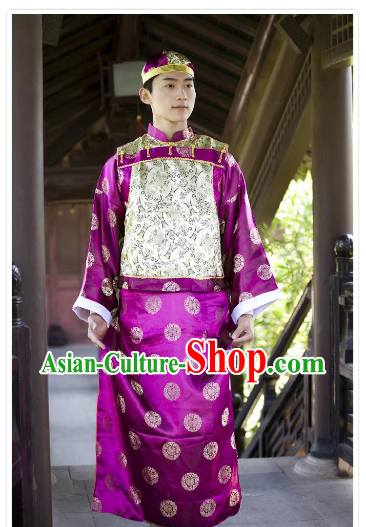 Traditional Chinese Mandarin Clothing Costume and Hat for Men