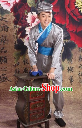 Ancient Chinese Waiter Costume and Hat for Men
