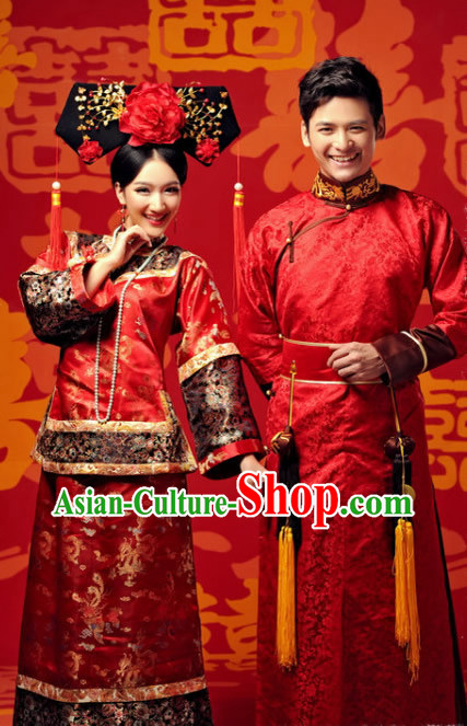Traditional Chinese Imperial Princess and Prince Red Wedding Dresses and Hat