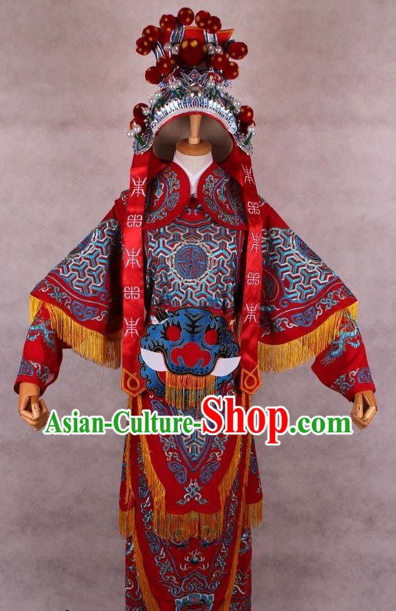 Traditional Chinese Opera Embroidered Armor Costume and Hat for Women