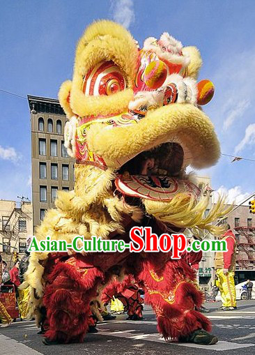 Traditional Chinese Red and Golden Lunar New Year Lion Dancing Costumes Complete Set