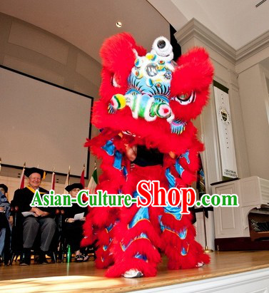 Supreme Blue and Red Ceremony Chinese Lion Dance Costume Complete Set