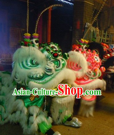 Old Style Long Feather Green and Pink Lion Dance Costumes Two Sets