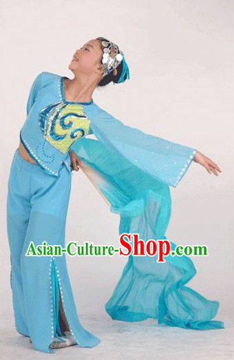 Blue Fan Dancing Costume, Headpiece and Fan Full Set