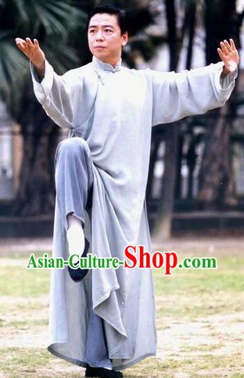 Mandarin Cotton Tai Ji Male Robe for Yip Men Master