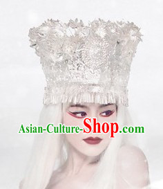 Large Chinese Miao Tribe Silver Hat for Women