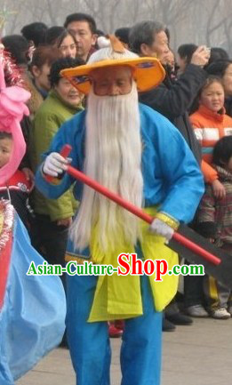 Blue Grandfather Farmer Parade Costume and Hat for Men