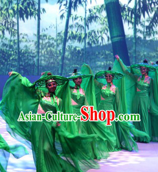 Green House of Flying Daggers Chinese Classical Dancing Costume and Bamboo Hat for Women