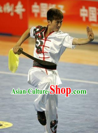 Supreme White Short Sleeves Silk Kung Fu Uniform for Men