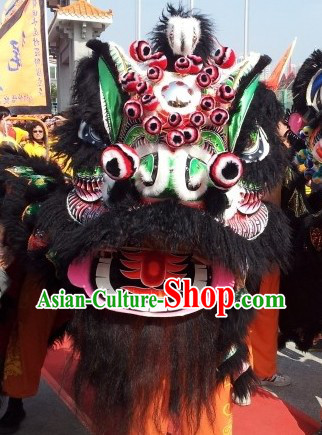 Old Style Black Ceremonial Lion Dance Costumes Complete Set