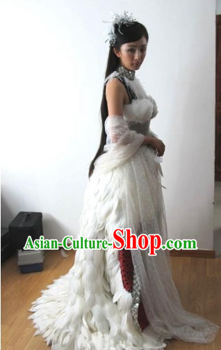 Yang Mi White Feather Ancient Chinese Alluring Woman Costume Set