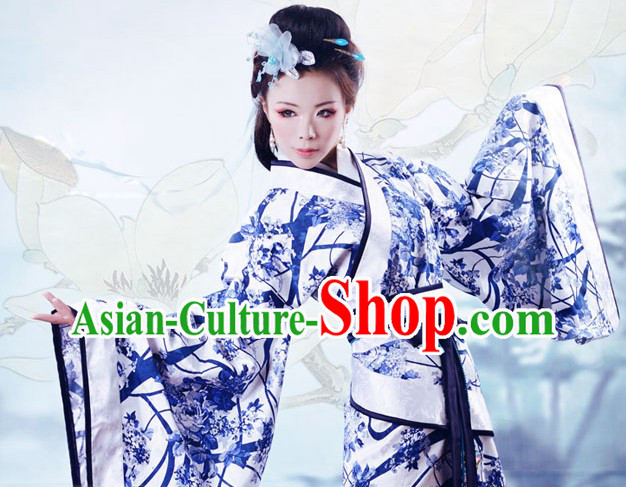 Hand Painted Ceramics Style Gu Zhuang Robe and Head Pieces Complete Set for Beauty
