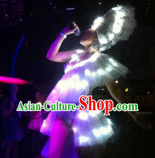 Party LED Costumes Hair Accessories and Glove Complete Set