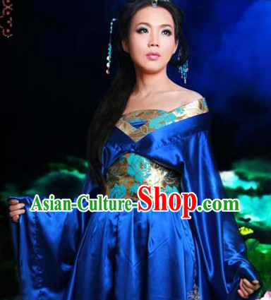 Ancient Chinese Blue Tang Dress for Girls