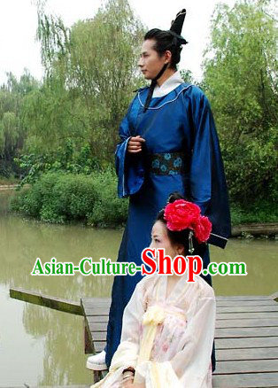 Blue Ancient Chinese Tang or Song Round Collar Robe and Coronet
