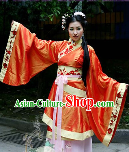 Orange Ancient Chinese Traditional Robe and Belt for Ladies
