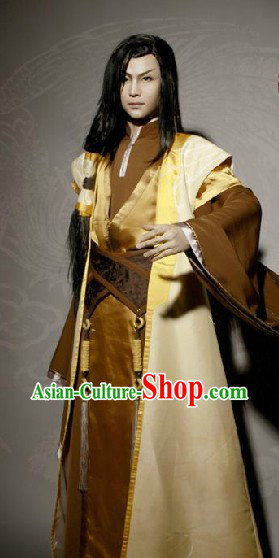 Ancient Chinese Swordsman Knight Cosplay Clothing Complete Set for Men