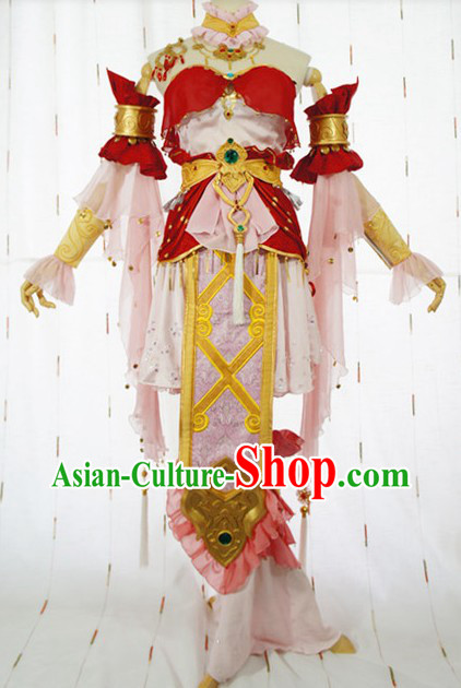 Ancient Chinese Women Heroine Cosplay Clothing Complete Set