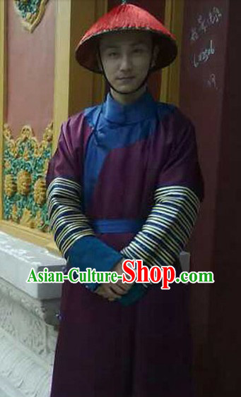 Qing Dynasty Palace Servant Costumes and Hat for Men