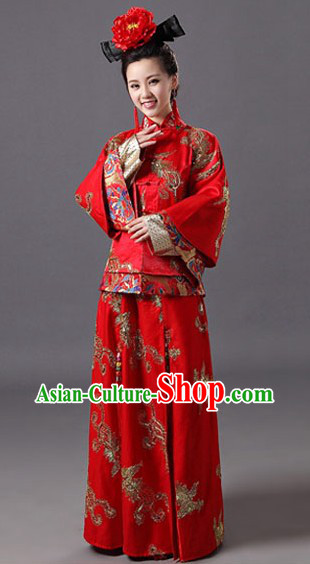 Chinese Classical Red Wedding Phoenix Outfit and Wig
